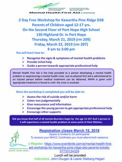Wait list for Mental Health First Aid for parents
